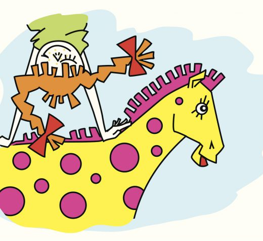 girl ( Pippi Longstocking ) is going on horseback in dream,
